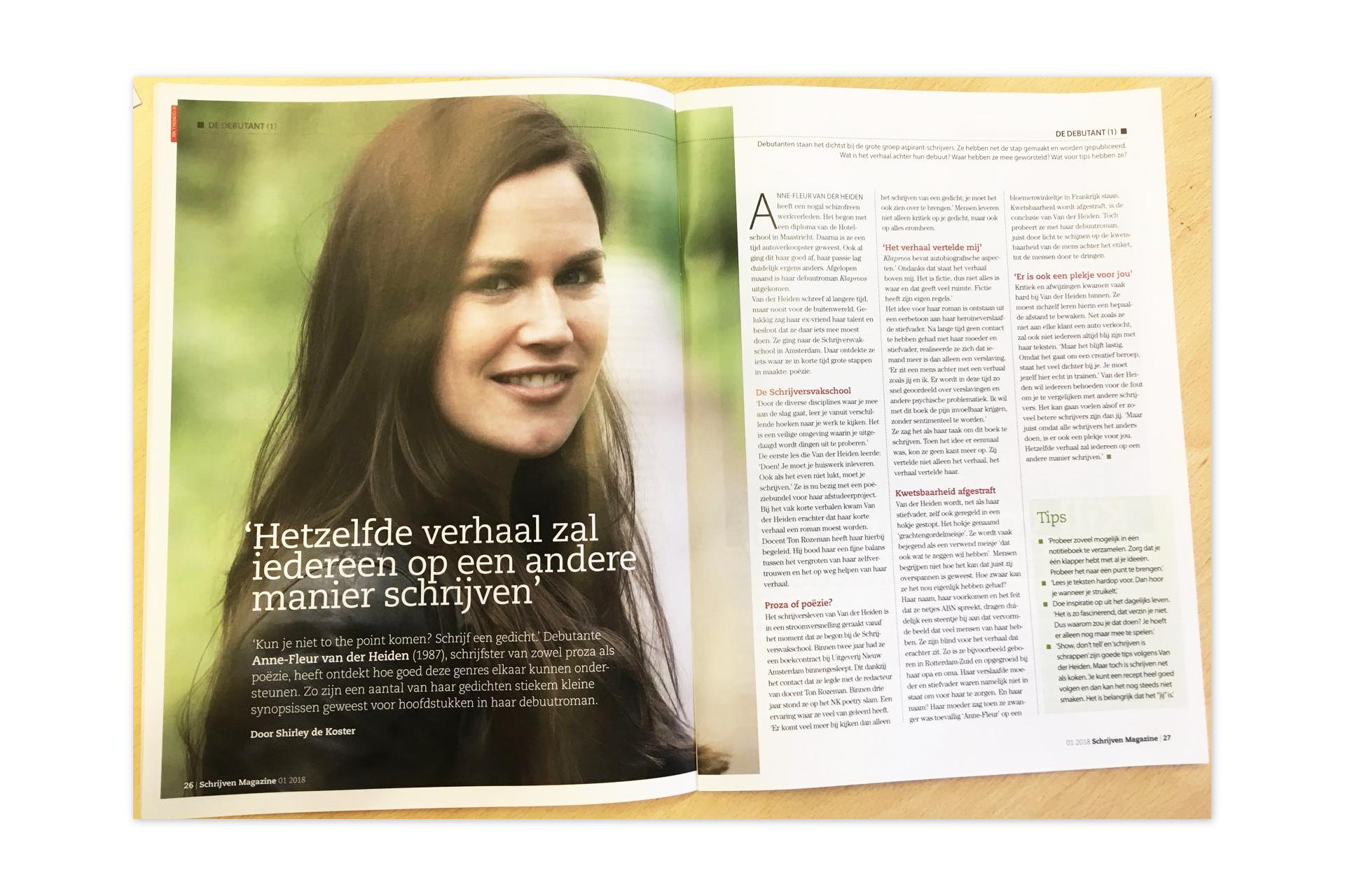 Schrijven magazine - interview - Klaproos - roman - Anne-Fleur van der Heiden